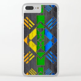 Colorful Geometric Wooden texture pattern Clear iPhone Case