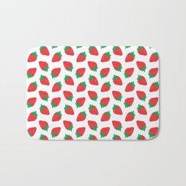 Cream Strawberries Pattern Bath Mat