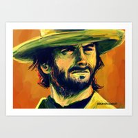 clint eastwood Art Prints featuring Clint Eastwood by GrungeCookie