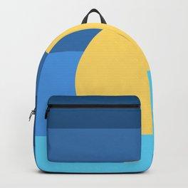Sunset Over Waves | Blue Backpack