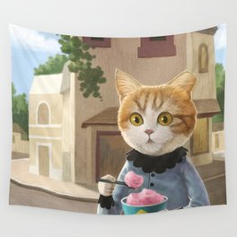 Yummy ice cream and a Cat Wall Tapestry