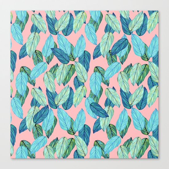 Tropical leaves on Pink Canvas Print