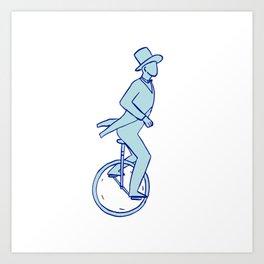 Circus Performer Riding Unicycle Drawing Art Print