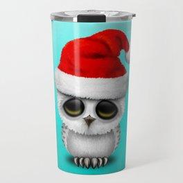 Christmas Owl Wearing a Santa Hat Travel Mug