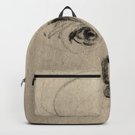 Charcoal Gesture Eyes Drawing Sketch of Expressive Spontaneous Portrait Face Backpack