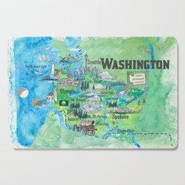 USA Washington State Illustrated Travel Poster Favorite Map Cutting Board