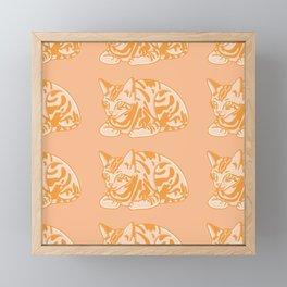 Cute Ginger Cat Pattern Framed Mini Art Print