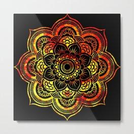 Fiery Sun Mandala Metal Print