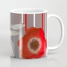 AWESOME DRAGONFLIES & RED POPPY FLOWERS ART Coffee Mug