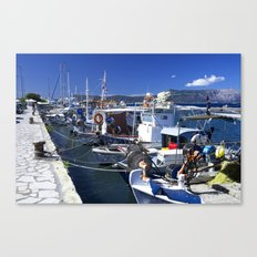 Fishing boats of Corfu Town Canvas Print