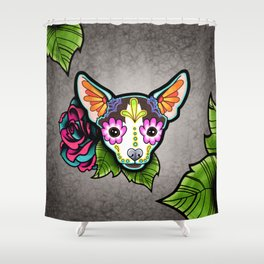 Chihuahua in Moo - Day of the Dead Sugar Skull Dog Shower Curtain