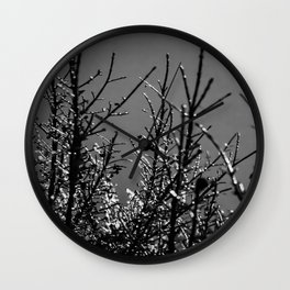 Icy Branches - Black and White Wall Clock