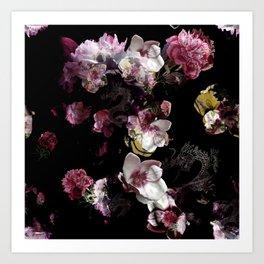 Peony magnolia chinese dragon Art Print