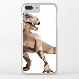 Trex Geometric dinosaur art Brown Clear iPhone Case
