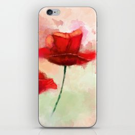 Red Poppy watercolor painting iPhone Skin