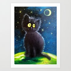 Once upon a black cat Art Print