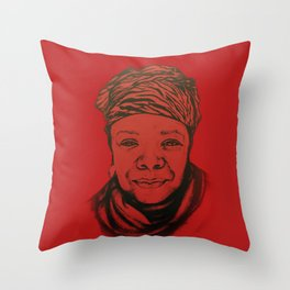 Maya Angelou - (red) Original Sketch to Digital Throw Pillow