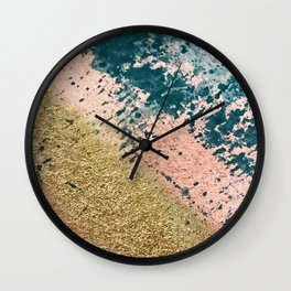 River: a minimal, abstract mixed-media piece in pink, teal and gold Wall Clock