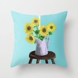 Sunflowers on Blues Throw Pillow