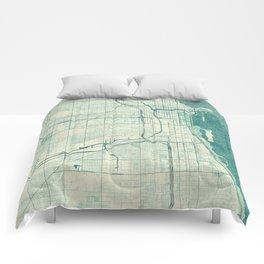Chicago Map Blue Vintage Comforters