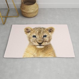 Baby Lion With Pink Background, Baby Animals Art Print By Synplus Rug