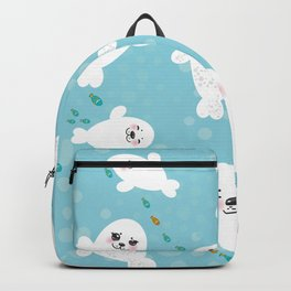 Funny albino white fur seal pups, cute kawaii seals Backpack