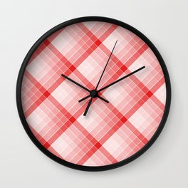 Red Geometric Squares Diagonal Check Tablecloth Wall Clock