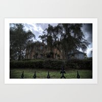 haunted mansion Art Prints featuring A Very Haunted Mansion by AtDisneyAgain