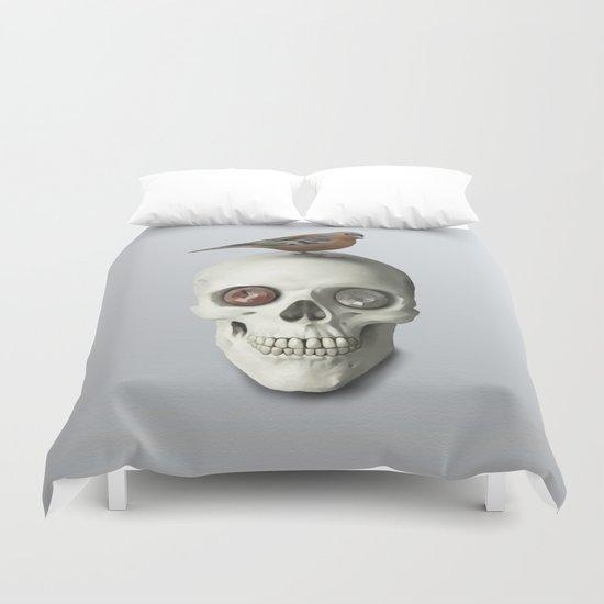 Skull  & bird, watercolor Duvet Cover