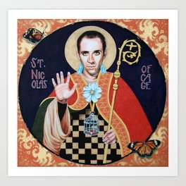 Saint Nicolas of Cage Art Print