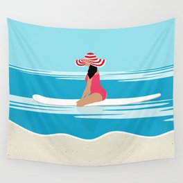 Solo surfing woman Wall Tapestry