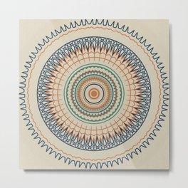 Texture Beige Mandala Metal Print