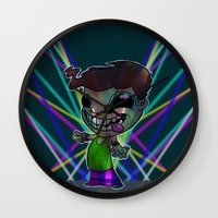 rave Wall Clocks featuring Rave Head by Desmond Clark