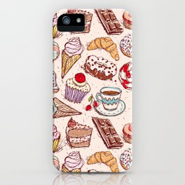 Hand drawn confectionery croissant Cupcake candy ice cream cake donut and coffee iPhone Case