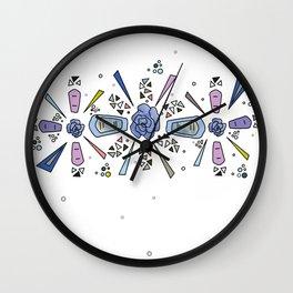 geometric flower crown Wall Clock