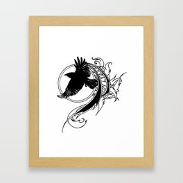 Crow Fly Straight Framed Art Print