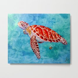 Sea turtle and friend Metal Print