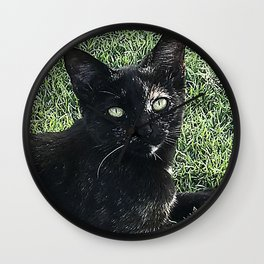 Island Cat Relaxing in Tropical Grass Wall Clock