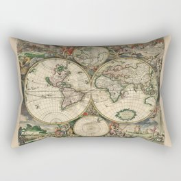 Ancient Map of the World - 1689 Rectangular Pillow