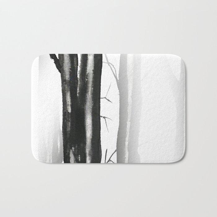 wood, snow and fog Bath Mat