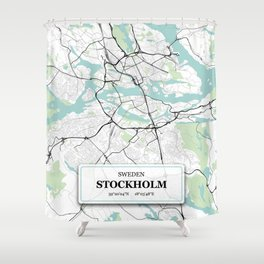 Stockholm Sweden City Map with GPS Coordinates Shower Curtain
