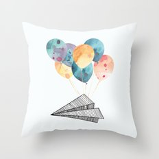 Fly paper plane! Throw Pillow