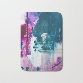 Complexity: a pretty abstract mixed-media piece in teal and purple by Alyssa Hamilton Art Bath Mat