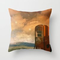 pocket fuel Throw Pillows featuring old fuel pump by Cenk Cansever