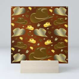 brown, golden pattern of little cowboy hats Mini Art Print