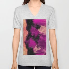 psychedelic splash painting abstract texture in pink purple black Unisex V-Neck