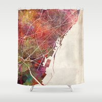 barcelona Shower Curtains featuring Barcelona by MapMapMaps.Watercolors