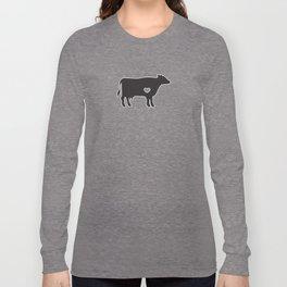 I Love Cows Cute Cattle Bovine Farmer Rancher Black Long Sleeve T-shirt
