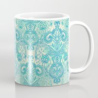 stickers Mugs featuring Botanical Geometry - nature pattern in blue, mint green & cream by micklyn