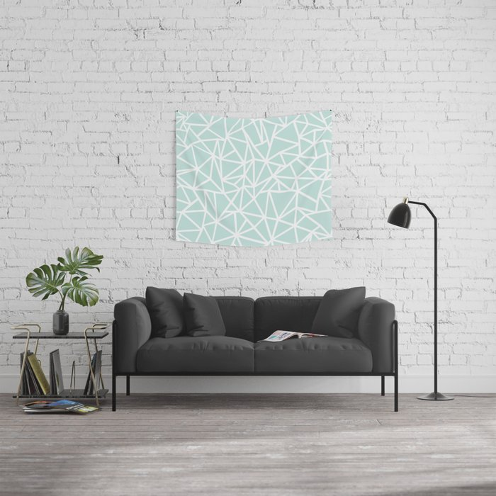 Ab Outline Thick Mint Wall Tapestry